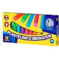 Plastelina dekoracyjna ASTRA brokatowa 12 kolorów