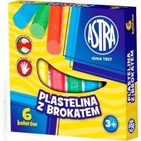 Plastelina dekoracyjna ASTRA brokatowa 6 kolorów