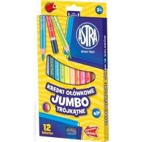Kredki ołówkowe ASTRA Jumbo trójkątne 12 kolorów