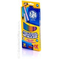 Kredki ołówkowe ASTRA czarne metaliczne 12kol + temperówka