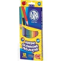 Kredki ołówkowe ASTRA trójkątne 12 kolorów