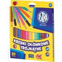Kredki ołówkowe ASTRA trójkatne 24 kolory
