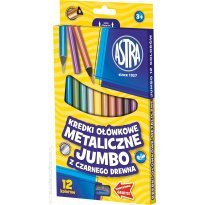 Kredki ołówkowe ASTRA Jumbo trójkątne czarne metaliczne 12 kolorów