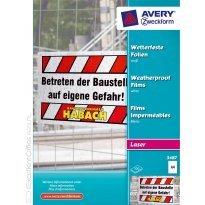 Folia zewnętrzna ZF Avery A4 biała druk.laser i xero 0,13mic (100ark)