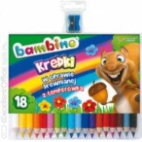 Kredki BAMBINO 18 kolorów w drewnie 15cm + temperówka