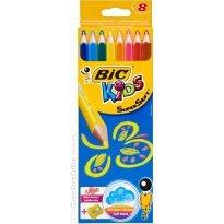 Kredki ołówkowe BIC Kids Supersoft 8 kol.+temperówka