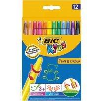 Kredki świecowe BIC Kids Turn&Colour (wykręcane) 12kol. 880508