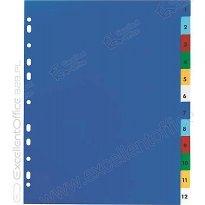 Przekładki PP ELBA A4 MAXI kolorowe 1-12