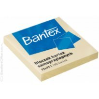 Bloczek samoprzylepny BANTEX 75x75mm żółty (100k)