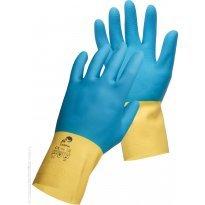 Rękawice montażowe CERVA CASPIA, lateks/neopren, rozm. 8, żółto-niebieskie