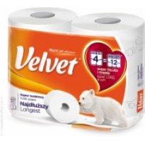 """Papier toaletowy VELVET """"Najdłuższy"""" biały (4 rolki)"""