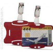 Identyfikator do kart DURABLE 54x85 z klipem czerwony