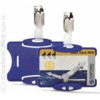 Identyfikator do kart DURABLE 54x85 z klipem niebieski