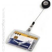Identyfikator do kart DURABLE 54x85 z zawieszką ściągającą (sztywne etuii)
