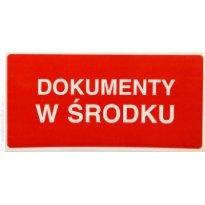 Etykieta ostrzegawcza DOKUMENTY W ŚRODKU 100x50mm (500szt)