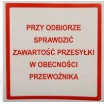 Etykieta ostrzegawcza SPRAWDŹ ZAWARTOŚĆ 100x100mm (500szt)