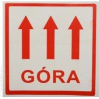 Etykieta ostrzegawcza GÓRA 100x100mm (500szt)