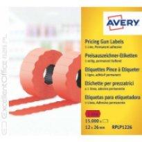 Etykiety cenowe w rolce ZF Avery 26x12 czerwone,trwałe (15000)