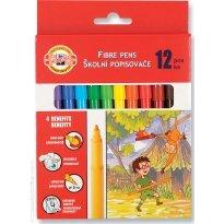 Flamastry szkolne KOH-I-NOOR zmywalne 12 kolorów