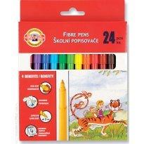 Flamastry szkolne KOH-I-NOOR zmywalne 24 kolory