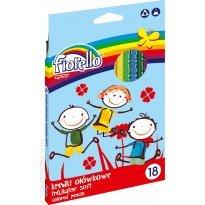 Kredki ołówkowe FIORELLO Super Soft, trójkątne 18 kolorów
