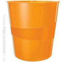 Kosz na śmieci LEITZ WOW 15L, metaliczny pomarańczowy