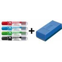 Marker suchościeralny PILOT V-Board Master kpl. 4 kolory + czyścik