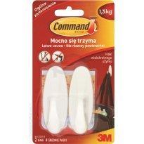 Haczyki COMMAND wielokrotnego użytku, wodoodporne, białe ( 2 haczyki + 4 paski) W17081 B PL