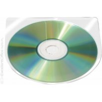 Kieszeń samoprzylepna Q-CONNECT na CD/DVD 126x126mm półokrągła, transparentna (10szt)