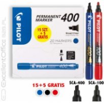 Marker permanentny PILOT SCA-400 ścięty, czarny (15 + 5 gratis)