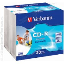 Płyta CD-R do nadruku atr. VERBATIM 700MB slim (1szt)