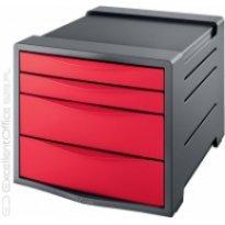 Pojemnik z szufladami ESSELTE Europost Vivida A4/4szuflady, czerwony