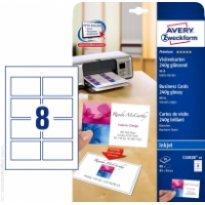 Karton wizytówkowy ZF Avery 85x54 błyszczący dwustr. biały 250g (10ark)