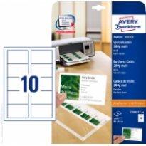Karton wizytówkowy ZF Avery 85x54 matowe jednostr. biały 200g