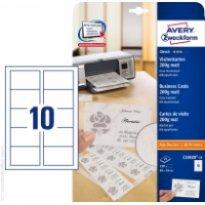 Karton wizytówkowy ZF Avery 85x54 matowy jednostr. biały 200g
